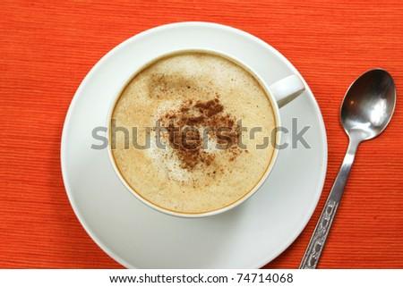 Coffee cappuccino - top view - stock photo