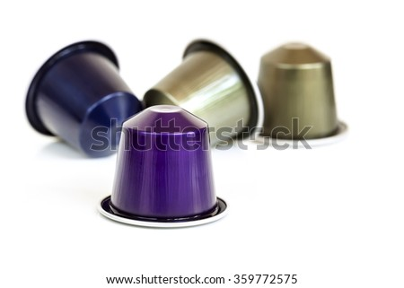 Coffee capsules, isolated on white background. - stock photo