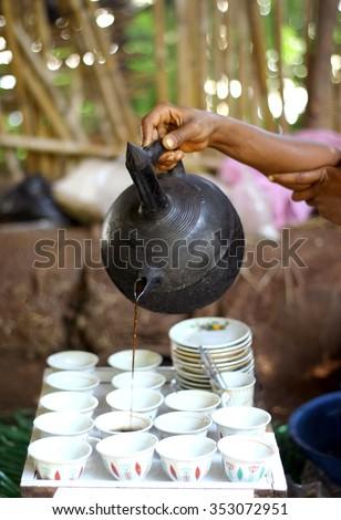 Coffee ceremony in Bahir Dar, Ethiopia - stock photo