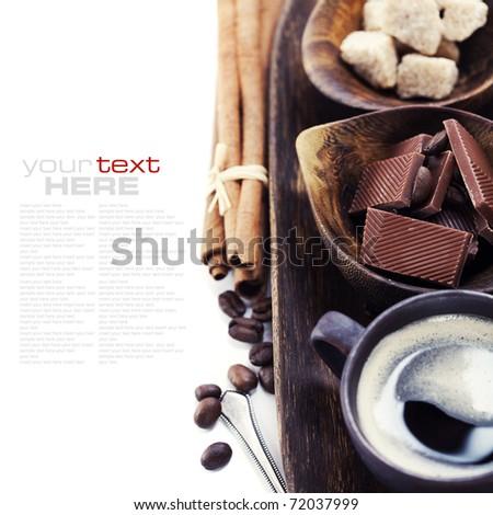 Coffee, chocolate, brown sugar and cinnamon (with sample text) - stock photo