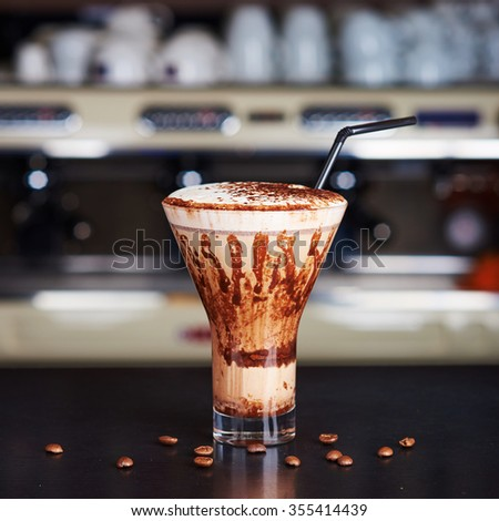 Coffee chocolate cocktail at the bar - stock photo