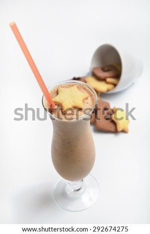 coffee chocolate cocktail decorated gingerbread cookies on white background - stock photo