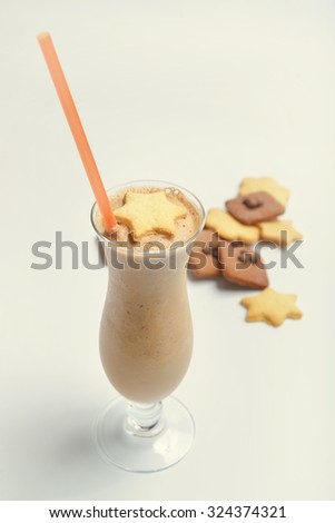 coffee chocolate cocktail decorated gingerbread cookies on white background (distorted white balance) - stock photo