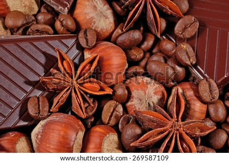 Coffee, chocolate, star anise and hazelnuts close up - stock photo