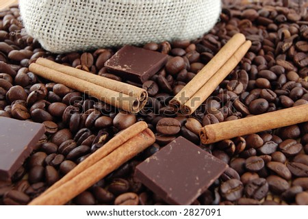 Coffee, cinnamon,chocolate and bag