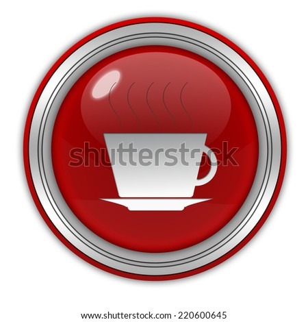 Coffee circular icon on white background
