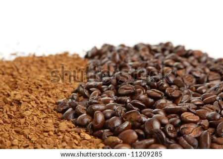 coffee close-up on white - stock photo