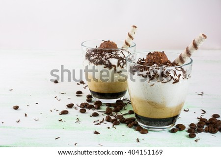 Coffee cocktail in glasses.  Chocolate cocktail. Chocolate drink. Cocoa cocktail. Cocoa drink. Coffee cocktail. Chocolate dessert. Coffee dessert - stock photo