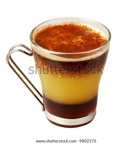 Coffee cocktail with ice-cream and banana in glass (with clipping path for easy background removing if needed) - stock photo