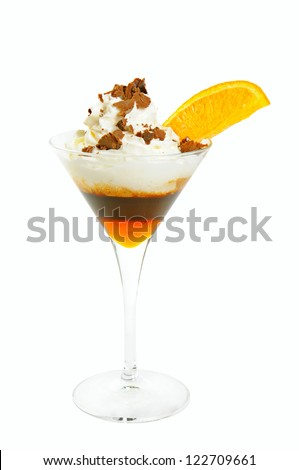 Coffee cocktail with slice of orange, cream and syrup isolated on white