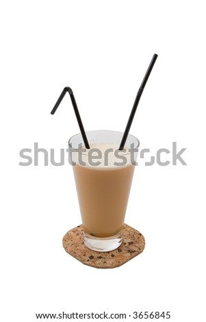 Coffee cocktail with vodka and two straw