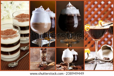 Coffee cocktails collage - stock photo