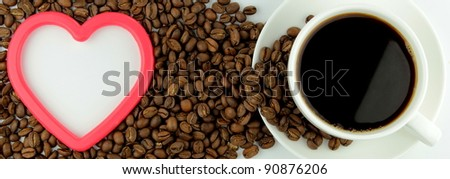 Coffee, coffee beans and red heart banner