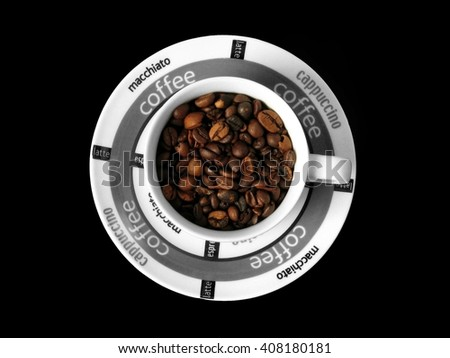 Coffee. Coffee beans. Coffee cup. Coffee mug. Healthy coffee. Coffee on white. I love coffee,coffee, coffee, coffee, coffee, coffee, coffee...... My love is coffee, coffee,coffee..... - stock photo