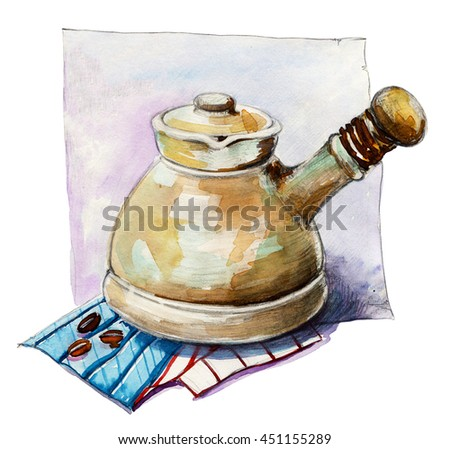 Coffee. Coffee pot. Turkish coffee pot. Istanbul notes - traditional Turkish coffee pot. Old-fashioned pot for brewing espresso coffee. Hand drawn watercolor illustration on white background. Cezve. - stock photo