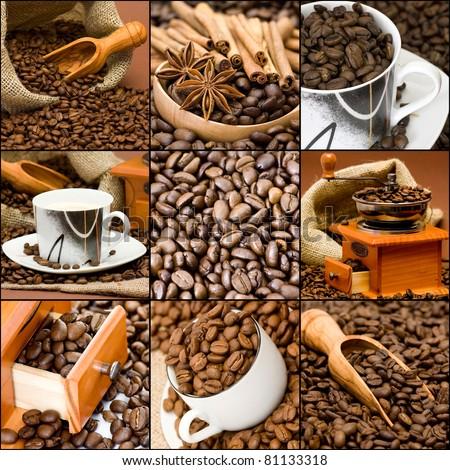 coffee collage - stock photo