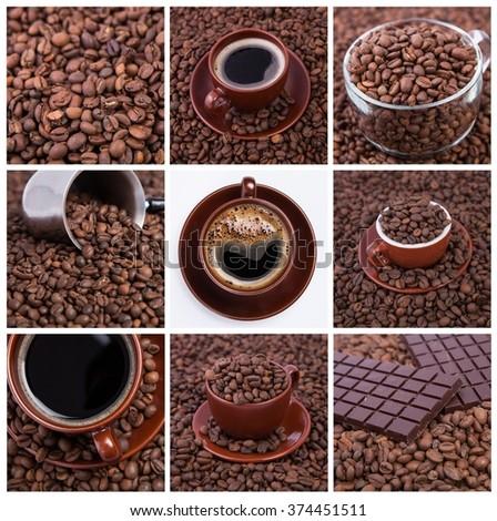 Coffee collage.Collage of cups of coffee. coffee concept. coffee time.Coffee cup and coffee beans - stock photo