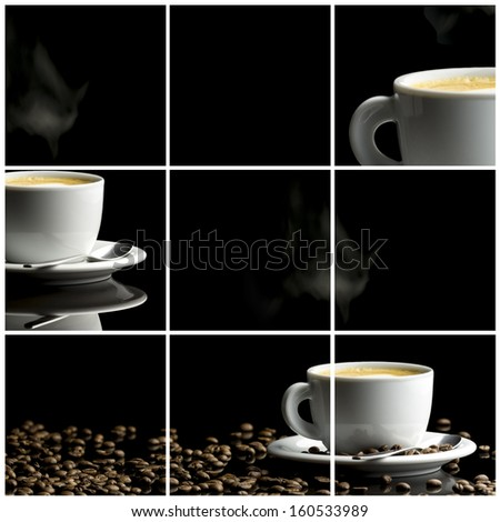 Coffee collage- collection of nine images with coffee. Black background. - stock photo