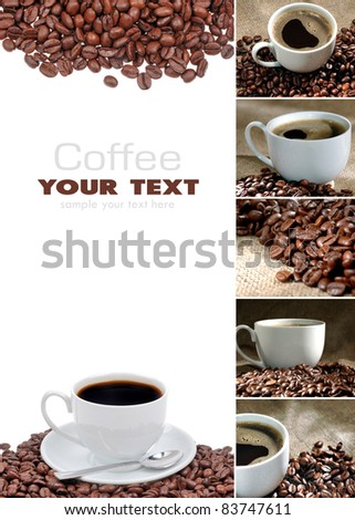 Coffee collage is from seven parts - stock photo