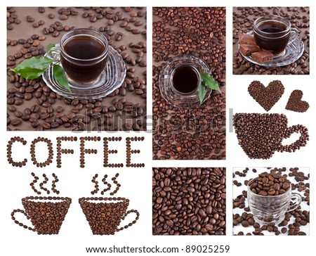Coffee collage on white background - stock photo