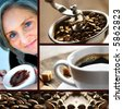 Coffee collage separated with a black line. - stock photo