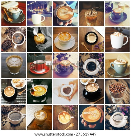 coffee collage set - stock photo