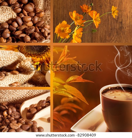 Coffee collage with brown background - stock photo