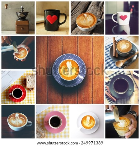 Coffee collage with Coffee espresso, cappuccino, latte and mocha. Food set of cap with coffee. Coffee concept. - stock photo