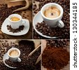 Coffee Collage with espresso and coffee beans - stock photo