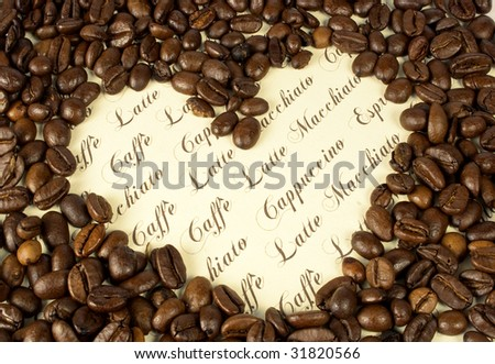 coffee collage with heart
