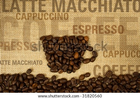 coffee collage with text - stock photo