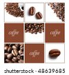 Coffee collage with white background - stock photo