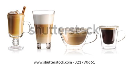 Coffee collection isolated on white - stock photo
