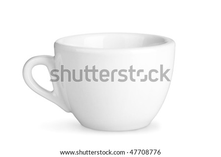 Coffee collection - Small white cup. Isolated on white background. - stock photo