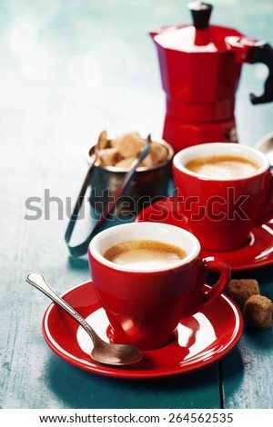 Coffee composition on blue rustic background - stock photo