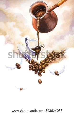 Coffee creative. Watercolor illustration - stock photo