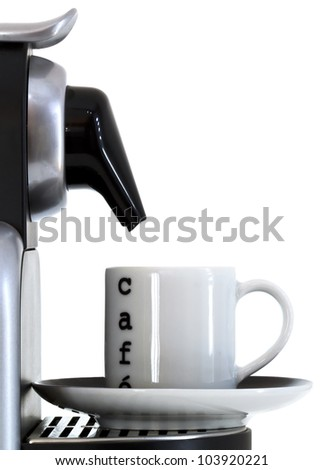 coffee cuo and expresso machine - stock photo