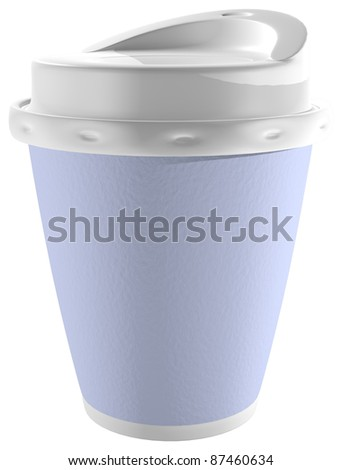 Coffee Cup - A disposable blue, foam and plastic coffee cup.  Isolated on white.