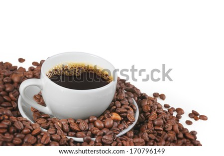 Coffee cup and a beans  - stock photo