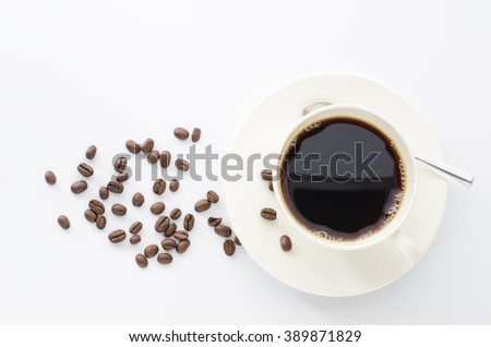 Coffee cup and beans coffee on a white background.
