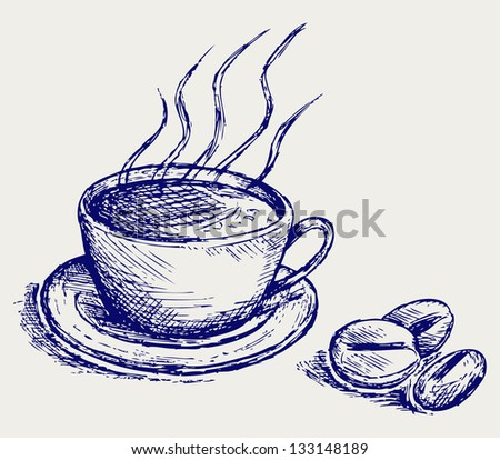 Coffee cup and beans. Doodle style. Raster version - stock photo