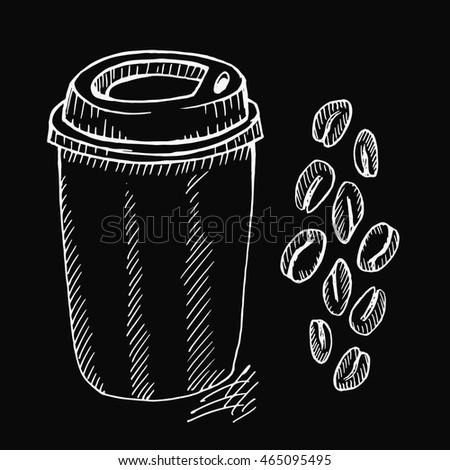 Coffee cup and beans on black background. Free hand drawn. illustration.