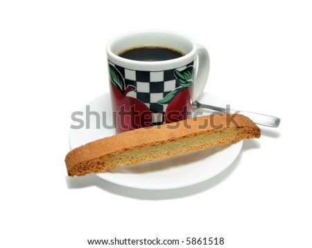 coffee cup and biscotti - stock photo