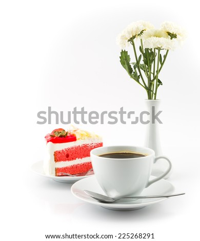 Coffee cup and cake  on a white background. - stock photo