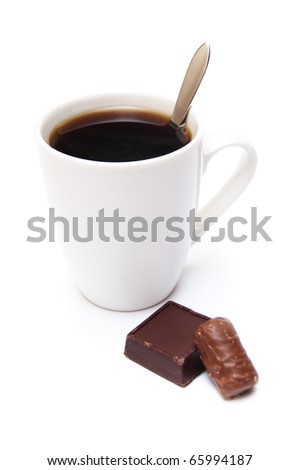 coffee cup and chocolate sweet isolated on white - stock photo