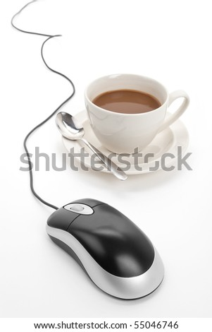 Coffee cup and computer mouse with white background - stock photo