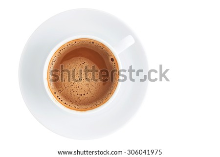 Coffee cup and copy space, Isolated on white background. - stock photo