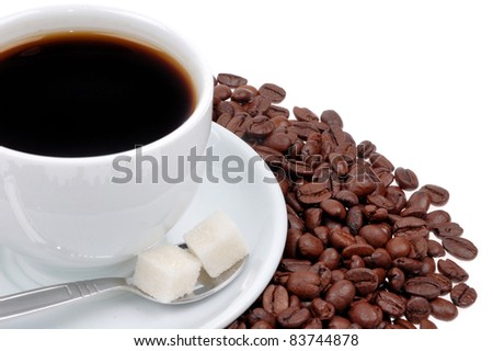Coffee cup and grain isolated on white background - stock photo
