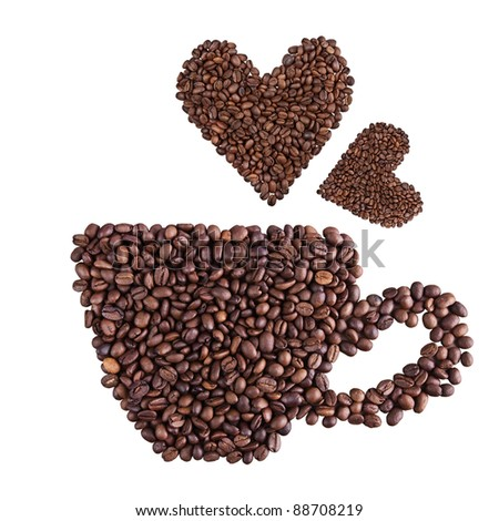 Coffee cup and heart made of coffee beans isolated on white