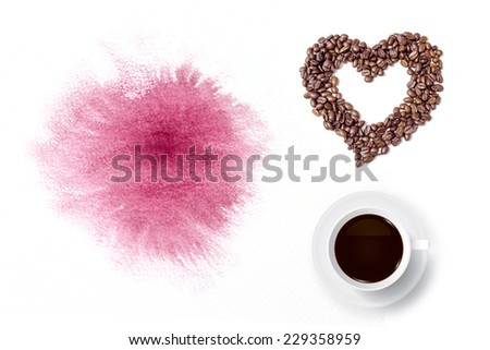 Coffee cup and heart of coffee beans with watercolor brush background. - stock photo